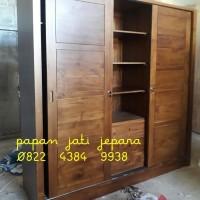 Lemari pakaian kayu jati jepara pintu 3 sliding minimalis wardrobe