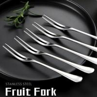 Garpu Buah Kue Kecil Dua Tusukan Stainless Steel Fruit Fork Cake
