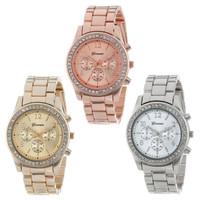 Jam Tangan Geneva Wanita Rantai Analog Diamond Fashion Casual Watch 10 - Gold