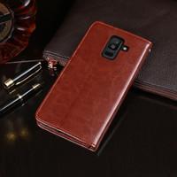 Flip Case Wallet Leather Samsung Galaxy J8 Leather Case Dompet J8 - Hitam