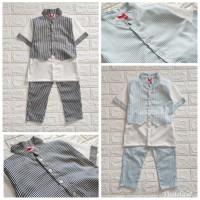 Baju Pesta Tuxedo Setelan Anak Bayi Laki Laki Semi Rompi 3D Garis