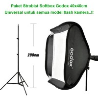 Paket Strobist Godox Easy Softbox for Flash DSLR - 40x40 cm & Light