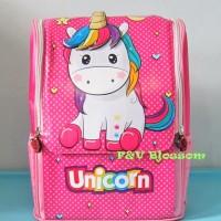 Tas Sekolah Anak Ransel Backpack TK Jepang Full Print UNICORN