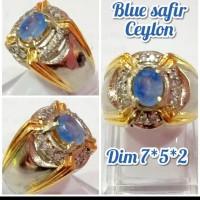 cincin batu akik permata blue safir ceylon kwalitas asli natural