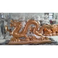 Patung Dekorasi Ukir Relief Naga Emas Kayu Trembesi (Panjang 200cm)