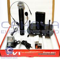 Mic Wireless Set isi 2 PVI PWM 201C B-H Besar Headset Audio Nirkabel
