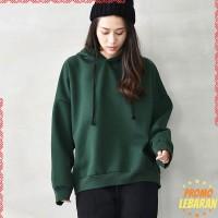 Sweater Kaos Hoodie Longgar Lengan Panjang Warna Polos