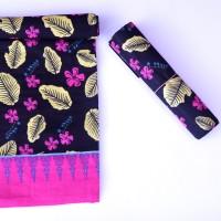 Kain Batik Motif Bunga dan Daun Simpor Hitam Pink(Cetak)