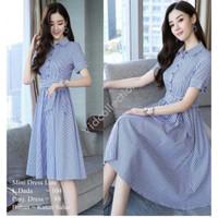 [Midi Dress - Line Blue - Line Black - Fit XL]