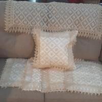 sarung bantal sofa renda 40x40 + taplak meja tamu