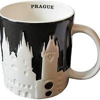 Starbucks Mug City Black White Relief 3D Prague Praha Czech Ceko