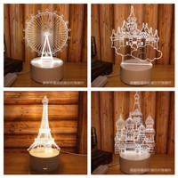 Lampu Hias Led 3D Lampu Tidur Eiffel Castle kincir angin