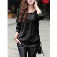 L-1405 Korean Woman Blouse - Black