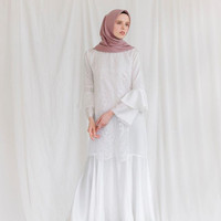 Kirana Dress Vanilla Hijab WHITE size M dan L
