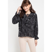 Mineola Ruffled Front Printed Blouse Black - 11904128FB - Hitam