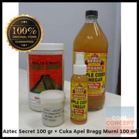 Masker Aztec Secret Indian Healing Clay 100 g + Cuka Apel Bragg 100 ml