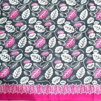 Kain Batik Motif Daun Simpor Abu Pink (Cap dan Tulis)