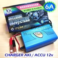 Charger Aki 12v Otomatis Output 6A utk Accu 24-60AH Intelligent Cas
