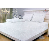 Vallery - Bed Cover King T.30 Jacguard / Aloe Vera motif White