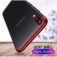 Samsung Galaxy M10 Shiny Electro Plating Clear Chrome Soft Case - Merah