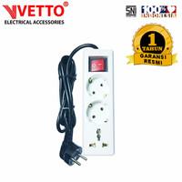 VETTO Stop kontak 3 Lubang 1.5 meter Full Universal SNI -V8203/1.5M+TB