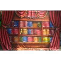 Background foto kain 2,5x3 meter Rak Buku