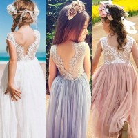 DRESS MAXI LACE TULLE ANAK PEREMPUAN IMPORT