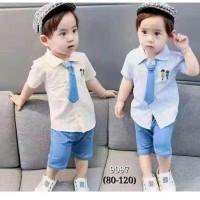 Setelan Kemeja Dasi Celana Jeans Anak Laki-Laki / Set Baju Bayi Import