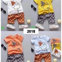 Setelan Baju Anak Laki-Laki Motif Tikus / Set Baju Bayi Import
