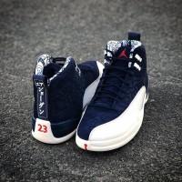 Sepatu Nike Air Jordan 12 International College Navy Premium Original