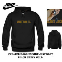 Sweater hoodie nike just do it black check gold