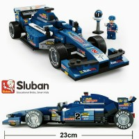 Mainan Edukatif Sluban Racing Car Blue Lightning Brick Lego Kompatibel