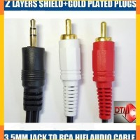 KABEL AUDIO Mini JACK 3.5 - RCA 2 (1-2) PANJANG 3M GOLD Plated
