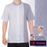 Kemeja / Baju Koko Muslim Pria Rommy - Putih Kombinasi Jeans Samping