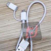 Kabel data powerbank pendek original xiaomi 2 in 1 micro usb + type c