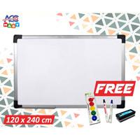 Whiteboard Keiko Magnetic Hanger Papan Tulis 120 x 240cm Free Spidol
