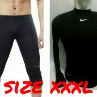 setelan manset panjang dan celana 3/4 size xxxl hitam / baju olahraga - Hitam, XL