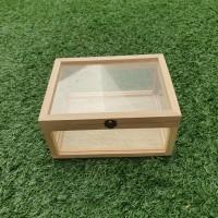 Kotak Full Akrilik Frame Kayu 20 x 15 x 10