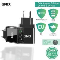 Onix Adaptor Charger PTC Tri - 3 Port with QC 3.0 & 2.4A -Tokocabang