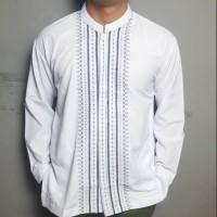 GR0102 Baju Koko Tangan Panjang Koko Putih Atasan Pria Kemeja Muslim