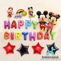 Balon Foil Mickey Minnie Set Ulang Tahun Rainbow