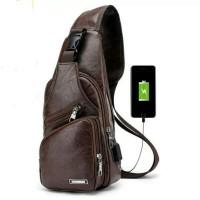 Tas Selempang Kulit Pria Sling Bag Slempang Kulit USB Port Charger NEW