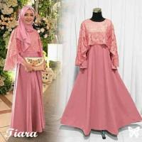Gamis / Maxi / Baju Dress Wanita Muslim New Tiara Jersey + Brukat HQ