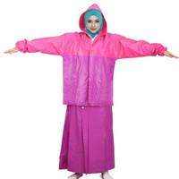 Jas Hujan Rok Valencia | Bentuk Setelan utk Perempuan Wanita Muslimah - Merah Muda, All Size