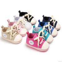 Sepatu Sneakers Prewalker Model Lace Up Bahan Kanvas untuk Bayi
