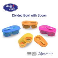Baby Safe Divided Bowl with Spoon (Tempat Makan Bayi + Sendok) - Orange