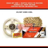 Gear Set SSS+Rantai Gold TK HONDA ALL NEW CB150R