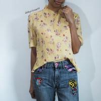 preloved yellow floral print blouse import / atasan plisket murah