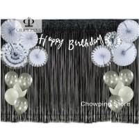 SET Dekorasi Happy Birthday SILVER (Banner + Paperfan + Tirai + Balon)
