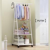 Triangle stand hanger baju rak buku pakain rak serbaguna dengan 4 roda - Putih